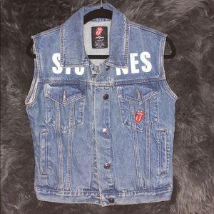 "F21 ""Rolling Stones"" Women's Sleeveless Denim Vest"